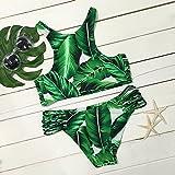 - 61b4mkW6lRL - Dare Color Damen Kokosnussbaum Drucken Bikinis Sets Badeanzug Blumen Strappy Cut Outs Bademode Badeanzug Gepolstert Strandkleidung mit Tropische Blätter (XL)