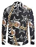 Pizoff Herren Barock Langarm Hemden Golden mit Fashion Palace Druck Sonne und Mond Schwarz AL082-02-M