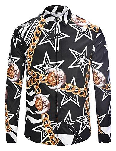 5a1743a49fe Pizoff Herren Luxus Palace Still Fashion Hemden mit Pflanze Blumen Medusa  Y1792-31-XXL