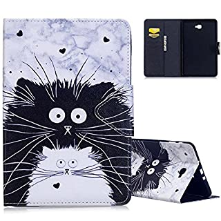 Aeeque® Galaxy Tab A6 10.1 Leather Case, Lovely [Black White Cat] Pattern Premium PU Leather Folio Flip Function Magnetic Wallet Tablet Cover for Samsung Galaxy Tab A 10.1 (2016) SM-T580/T585