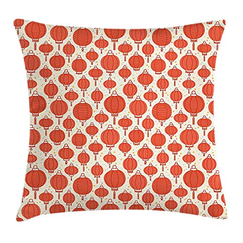Lantern Throw Pillow Cushion Cover, Cartoon Style Cheerful Pattern with Festive Asian Icon Chinese Ethnicity, Decorative Square Accent Pillow Case, 18 X 18 inches, Vermilion Pale Yellow
