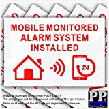 6 x MOBILE Monitored Alarm System Installed Stickers-130mm Red on White External Application-24hr Security Warning Signs for Home, House, Flat,