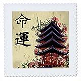 3dRose Schöne japanische Pagode mit rosa Sakura und Bambus