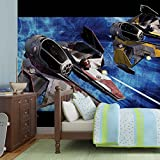 Star Wars Obi Anakin Jedi Sternjäger - Forwall - Fototapete - Tapete - Fotomural - Mural Wandbild - (1685WM) - XXL - 368cm x 254cm - Papier (KEIN VLIES) - 4 Pieces