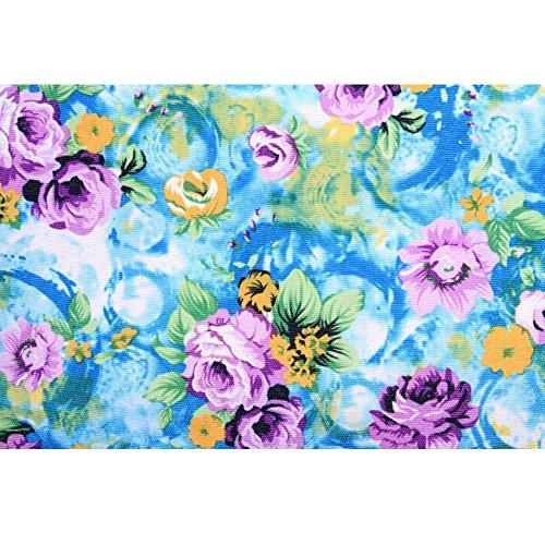 OUFLY Gelb Druck BlumenRucksack Segeltuch Rucksack kühler Knapsack Daypack Schul College Beutel Daypack für Frauen Damen Mädchen Blaue u. Lila Blume