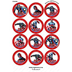 Toppershack 12 x decoración para pasteles comestibles PRECORTADAS de Superhéroe Capitan America