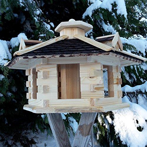 Vogelhaus Ø 59cm Vogelhäuser Vogelfutterhaus Vogelhäuschen aus Holz Schreinerarbeit Gaube Dunkelbraun sehr Groß XXXL - 3
