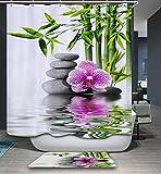 Izielad Natur Lila Blumen Stein Grün Bambus Stoff Duschvorhang Wasserdicht Bad Dekor