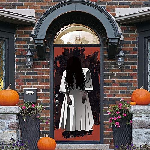 BXZGDJY 3D-Effekt Bücherregal Stil Wandbild Wrap Wandaufkleber Für Home Office Schlafzimmer Dekoration Weiblicher Geist Vor Halloween 90X200Cm