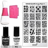 "KONAD / NAILFUN Kit Stamping ""Square"" pour Nail Art avec Tampon Carré, 1 Plaque d'Images KONAD Square et 2 Vernis Stamping NAILFUN"