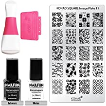 Kit de Estampado KONAD/NAILFUN con Sello, Placa de Diseños y Esmaltes Especiales
