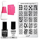 KONAD Stampingset SQUARE 11 mit Double Edge Stamp Set + Stampingschablone Square 11 + NAILFUN Stampinglack weiss 10ml + NAILFUN Stamping-Lack schwarz 10ml
