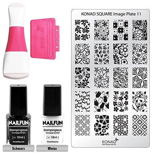 KONAD Stampingset SQUARE 11 mit Double Edge Stamp Set + Stampingschablone Square 11 + NAILFUN Stampinglack weiss 10ml + NAILFUN Stamping-Lack schwarz 10ml
