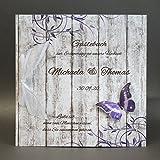 Gästebuch zur Hochzeit mit Namen 11025 Holzoptik lila Schmetterling