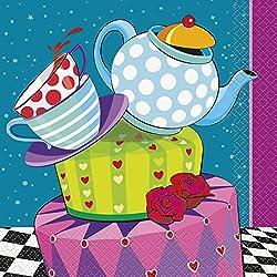 Unique Party Supplies Servietten mit Teeparty des verrückten Hutmachers als Motiv, 16,5cm, 16Stück