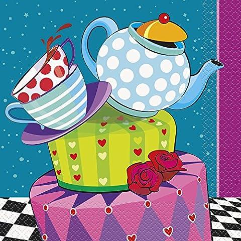 Unique Party - 49502 - Paquet de 16 Serviettes en Papier - Tea Party - Chapelier Fou - 16,5 cm