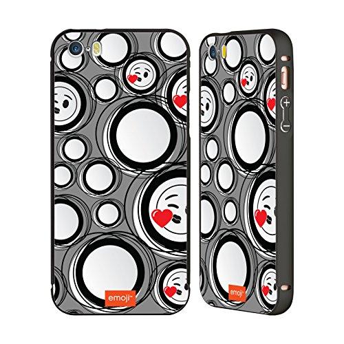 Ufficiale Emoji Vetro Macchiato Modelli 2 Nero Cover Contorno con Bumper in Alluminio per Apple iPhone 6 Plus / 6s Plus Cerchi