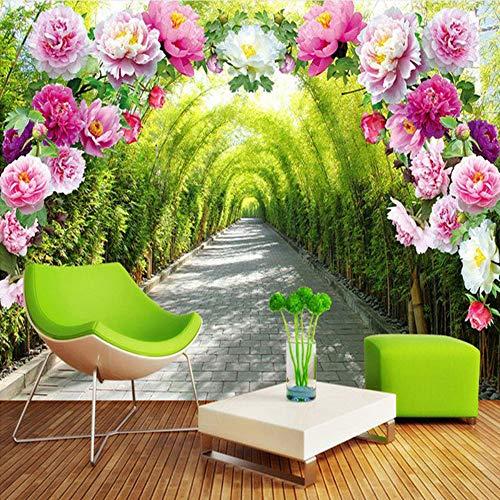 Meaosy Benutzerdefinierte 3D Wandbild Tapete Wohnzimmer Schlafzimmer Sofa Hintergrundbild Garten Blumen Blume Tür Galerie Erweitern Raum Tapete-200X140Cm