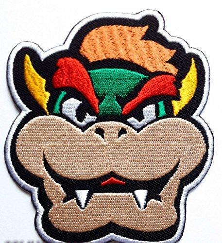 Bowser Gesicht Patch gestickt Eisen auf Abzeichen Aufnäher Kostüm Cosplay Mario Kart/SNES/Mario World/Super Mario Brothers/Mario Allstars