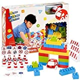 56 Piece Childrens Car Traffic Toy Coloured Building Blocks Construction Bricks