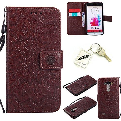 Preisvergleich Produktbild Silikonsoftshell PU Hülle für LG G3 (5,5 Zoll) Tasche Schutz Hülle Case Cover Etui Strass Schutz schutzhülle Bumper Schale Silicone case+Exquisite key chain X1#KD (2)