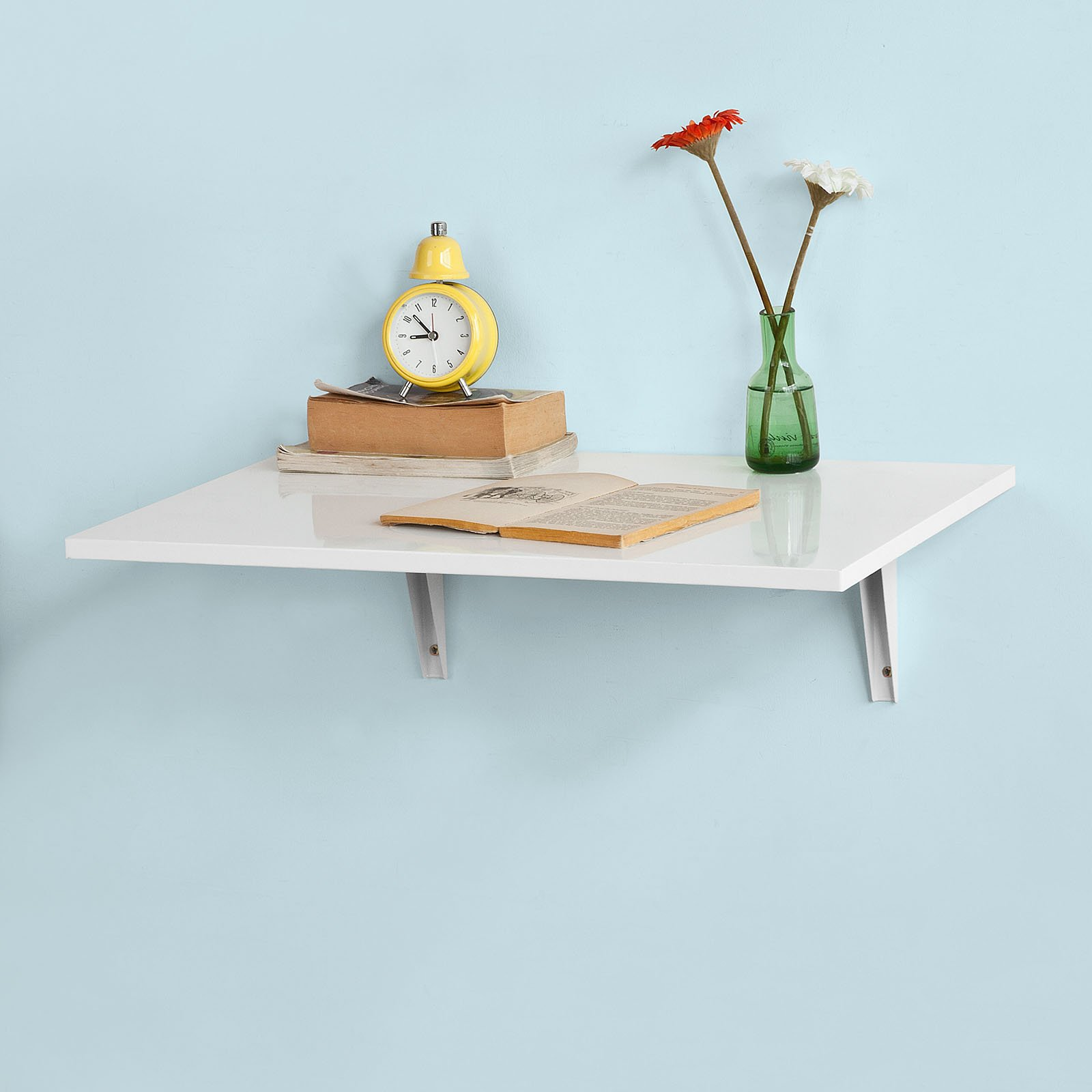 Wall Mounted Folding Table Drop Leaf White Small Kitchen Dining ...