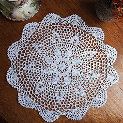 KING DO WAY Napperon Dentelle Crochet Rond En Coton Décor Table Cuisine Hand Crocheted Doily Blanc 37cm