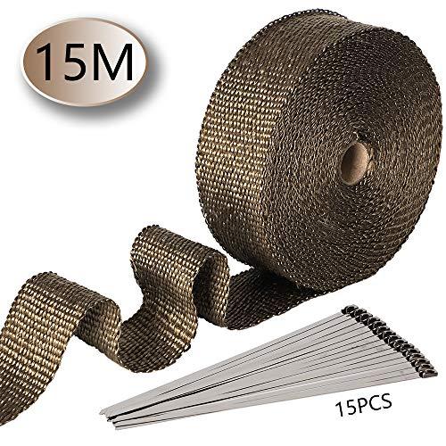 Smarcy Nastro Termico Isolante in fibra di vetro per tubi di scarico per motocicli 15M x 5CM, 15 pezzi Flange, isolamento per avvolgimento Collettore di scarico moto, Colore Oro antico