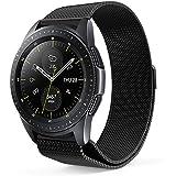 ProCase Barcelet pour Galaxy Watch Active 40mm (2019)/Galaxy Watch (42mm)/Gear Sport/Gear S2 Classic, Bande de Remplacement Réglable Milanais Acier Inoxydable avec Fermoir magnétique–Noir, Petit