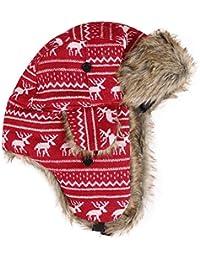 Amurleopard Bonnet trappeur thermique fourrure Homme epais chaud imprime cerf neige Rouge Taille unique