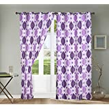 The Decor Hub Set Of 2 Fabric Polyester 9Ft Window Printed Curtains- White, Purple