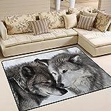 ingbags Super Weich Modern Love Wolf, ein Wohnzimmer Teppiche Teppich Schlafzimmer Teppich für Kinder Play massiv Home Decorator Boden Teppich und Teppiche 160x 121,9cm, multi, 63 x 48 Inch