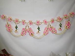 Home Decor - Door Hanging - Traditional Pink Flower Handmade Toran F123