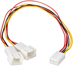 3 Pin to 2 x 3 Pin Computer Case Fan Y-Splitter Power Connector Adapter Cable - 1 Feet
