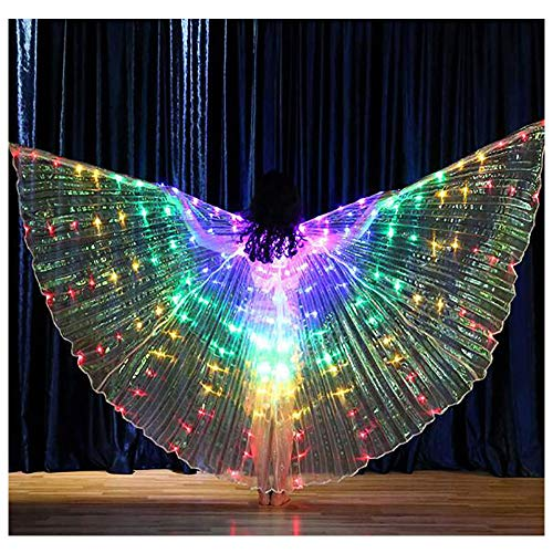 Luminous Dance Kostüm - LED Luminous Dance Wings, Kinder Bauchtanzflügel mit Teleskopstangen, für Bühnenauftritte Geburtstagstänze Halloween Rollenspiele