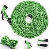 zooarts® Stahlband 50FT/erweiterbar flexibler Gartenschlauch massiver Messing Schlauch Armaturen & Spray Gun, grün, 15,2 m
