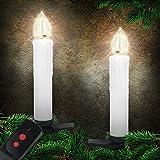 20er LED Lichterkette Kerzenlichter Set mit 3 vers. Lichtmodifikationen inkl. Fernbedienung, kabellos, weiß