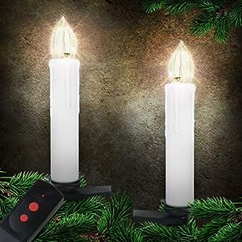 20 bougies LED pour sapin - BLANCHE - avec clips et télécommande