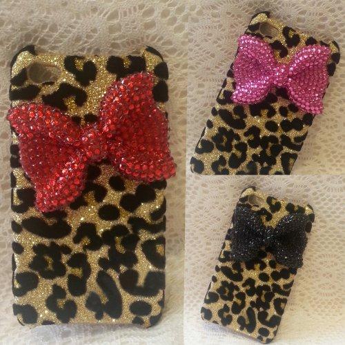 D9Q Bling Crystal Strass Leopard Schale Tasche Case Hülle für iPhone 5 5 s !Rose