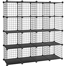 SONGMICS 16 Cube Metal Wire Storage Organiser, DIY Closet Cabinet and Modular Shelving Grids, Wire Mesh Shelves and Rack, Black LPI44H