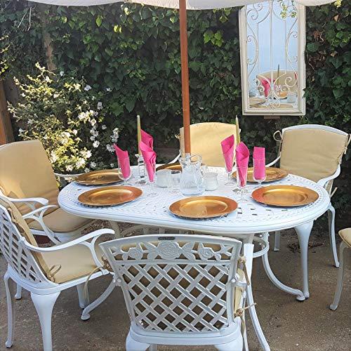 Lazy Susan - June 150 x 95 cm Ovaler Gartentisch mit 4 Stühlen - Gartenmöbel Set aus Metall, Weiß (Rose Stühle, Terracotta Kissen) (Esstisch-set 6 Für Ovaler)