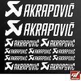 Brett 12Sticker Aufkleber Akrapovic Auspuff Anlage–Weiß–Sticker, selbstklebend, Motorrad, Bike, Kit, Deco, Tuning, Decal, gt-design