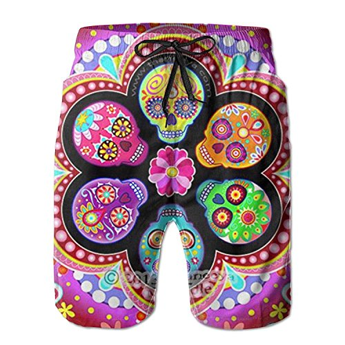 best gift New Dead Sugar Skull Flowers Men's Beach Pants,Shorts Beach Shorts Swim Trunks L -