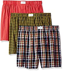 91414ceab0c5 Tommy Hilfiger Men's Underwear 3 Pack Cotton Classics Woven Boxers,  Orange/Blue Plaid/
