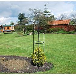 ... Garden Mile® Large 2M Black Metal Garden Obelisk Heavy Duty Strong  Tubular Plant Cage For