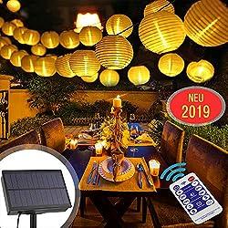 Solar Lichterkette Außen Lampions mit 12 Tasten Fernbedienung,6 Meter 30 LED 8 Modi Laterne IP65 Wasserdicht Solar Beleuchtung Aussen für Garten, Hof, Balkon, Hochzeit, Fest Deko(Warmweiß)