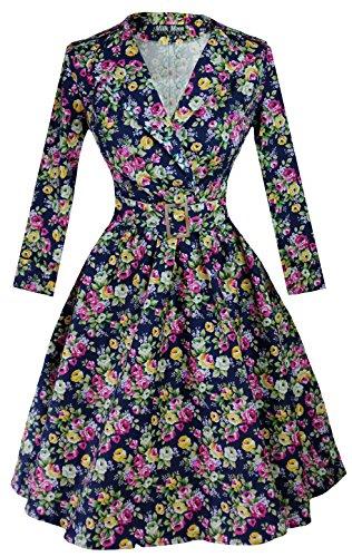 Vintage 1950er 1960er Party Kleid Floral Sleeve Halsband Gr. 24, marineblau -