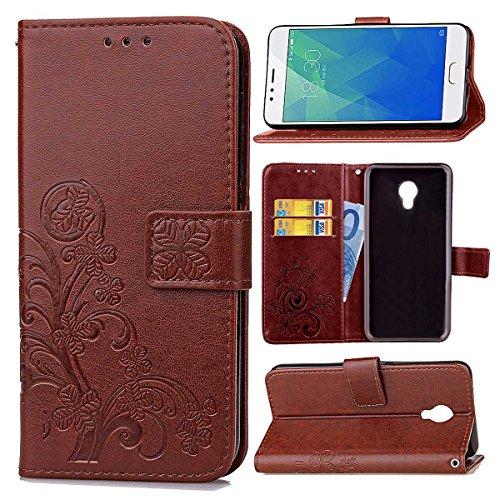 Guran Custodia in Pu Pelle Lucky Clover Flip Cover per Meizu M5S Smartphone avere Portafoglio e Funzione Stent Modello di Trifoglio Fortunato Copertura Protettiva - Marrone