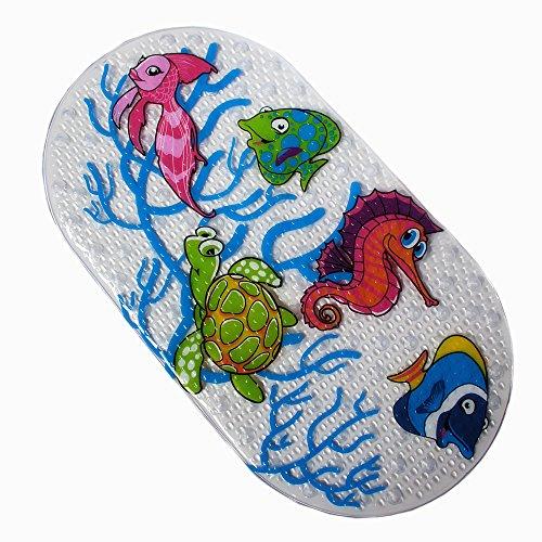Rutschfeste Wanneneinlage Anti-Rutsch Badewannenmatten PVC Karikatur Entwurf Massage Dusche Badematte mit Saugnäpfen für Baby Kinder 38 x 71cm (Ocean World)