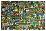 Spielteppich Autoteppich Straßenteppich Streets - 95x200cm, Anti-Schmutz-Schicht, Auto-Spielteppich für Mädchen & Jungen, Kinderteppich Strasse Fußbodenheizung geeignet